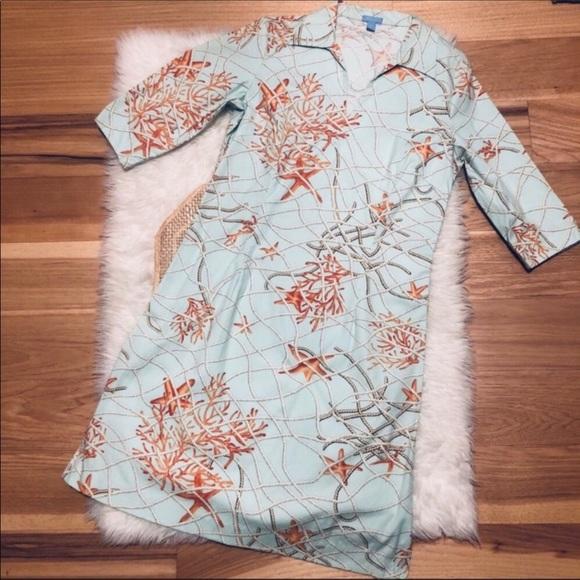 J. McLaughlin Blue Nautical Starfish Coral Dress